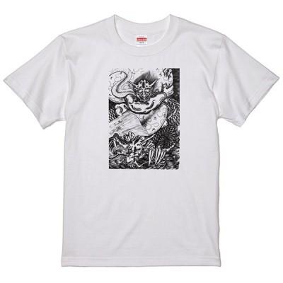 和柄  風神と龍 Tシャツ刺青竜 和風