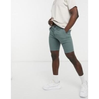 エイソス メンズ ハーフパンツ・ショーツ ボトムス ASOS DESIGN skinny chino shorts in washed green Balsam green