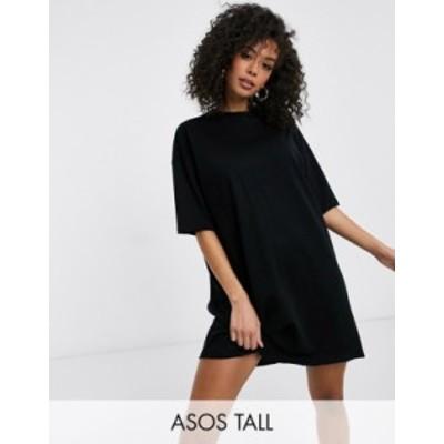 エイソス レディース ワンピース トップス ASOS DESIGN Tall T-shirt dress in black Black