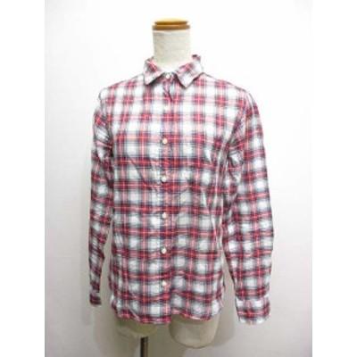 【中古】シップス SHIPS 半袖 チェック柄 シャツ 36 白x赤 コットン 予備ボタン 日本製 レディース