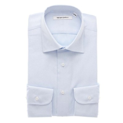 ドレスシャツ/長袖/メンズ/FIT/オーガニックコットン/ワイドカラードレスシャツ 織柄 サックスブルー