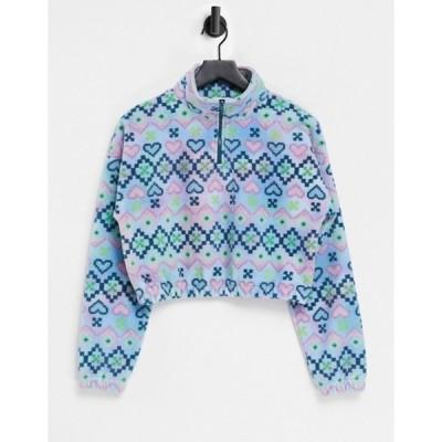 ヴィンテージ サプライ レディース シャツ トップス Vintage Supply half zip nordic style printed fleece set