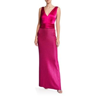 セント ジョン コレクション レディース ワンピース トップス Sleeveless Textured Metallic Inlay Column Gown w/ Liquid Satin Bodice