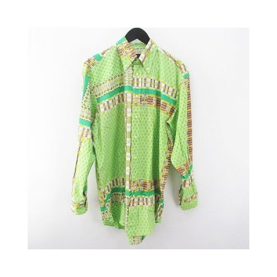 【中古】エトロ ETRO 長袖 ボタンダウンシャツ M 緑 グリーン系 ボタン 総柄 綿 コットン メンズ 【ベクトル 古着】