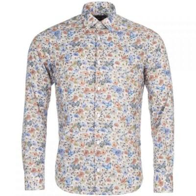 エデン パーク Eden Park メンズ シャツ トップス Long Sleeved Floral Cotton Shirt Blue