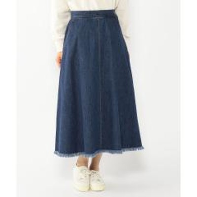 Petit Honfleur(プチ オンフルール)裾フリンジデニムスカート
