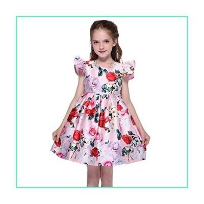 Girls Dress O-Neck Back Hidden Zipper Double Layered Petal Sleeve 2-9 Years Kids Fall Summer Spring Party Dresses (L) Pink並行輸入品
