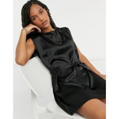 エイソス レディース ワンピース トップス ASOS DESIGN satin shoulder pad mini shift dress in black Black