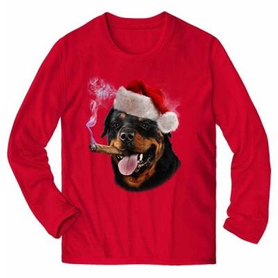 【ロットワイヤー ドッグ 犬 いぬ クリスマス】メンズ 長袖 Tシャツ by Fox Republic
