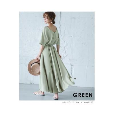 【la-gemme】Vネックフレアワンピース (ワンピース)Dress
