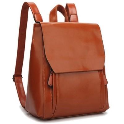 レザー革 リュック 通学 通勤 バッグ2way肩掛け鞄 (ブラウン) 軽量 小型 PUレザー