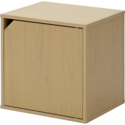 収納ボックス/ディスプレイラック 〔扉付き ナチュラル〕 幅34.5cm キューブボックス CUBE BOX 組立品 〔リビング〕