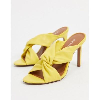 リース Reiss レディース サンダル・ミュール シューズ・靴 Ella Heeled Mule Sandals In Yellow
