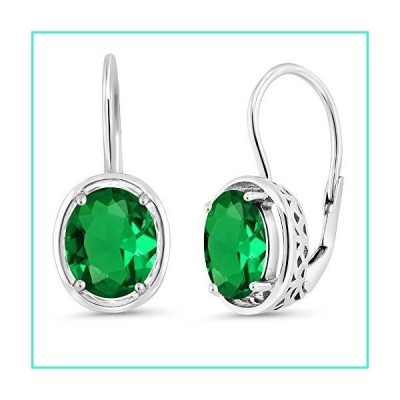 Gem Stone King 925 Sterling Silver Green Simulated Emerald Dangle Earrings 3.00 Ctw Oval 9X7MM