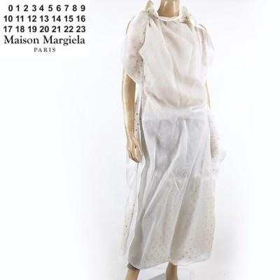 ◆メゾン マルジェラ(Maison Margiela)レディース ドレス ホワイト系  ノースリーブ シルク100% 透かしドット柄 イタリア製 (サイズ/38)*mm0013