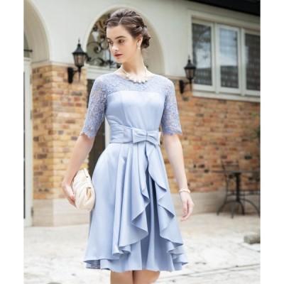 ドレス 【大きいサイズ有り! LL、3L】2wayオーバースカート付きデコルテシアーレース切替サテンミモレ丈ワンピース
