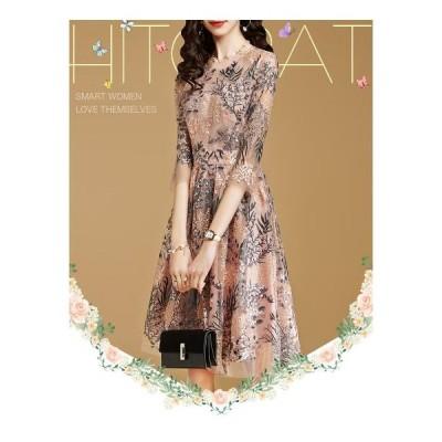 ワンピース パーティードレス レディース 安い 可愛い 結婚式 ワンピースドレス 花柄 Aライン 上品 ミディアム丈 ピンク