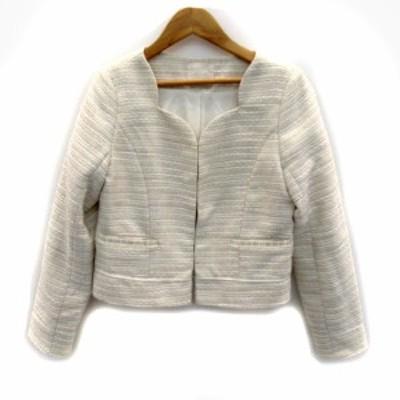 【中古】ミーア MIIA ジャケット ノーカラー ショート丈 ツイード ウール混 1 白 ホワイト 薄ピンク /SY31 レディース