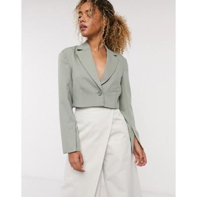 ウィークデイ レディース ジャケット・ブルゾン アウター Weekday Dominique cropped blazer in khaki