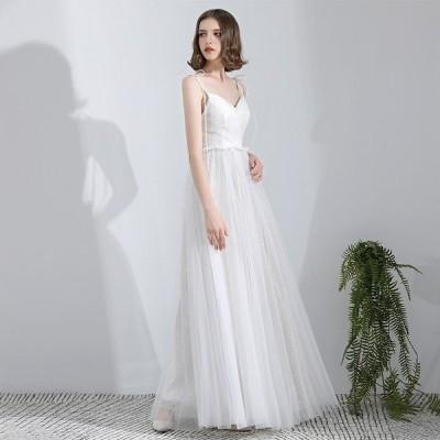 ウエディングドレス aライン 白 安い ウェディングドレス 花嫁 結婚式 ミモレ丈ドレス パーティードレス 二次会 ブライダル ロングドレス イブニングドレス