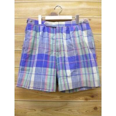 W35★古着 ショート パンツ 80年代 青 チェック