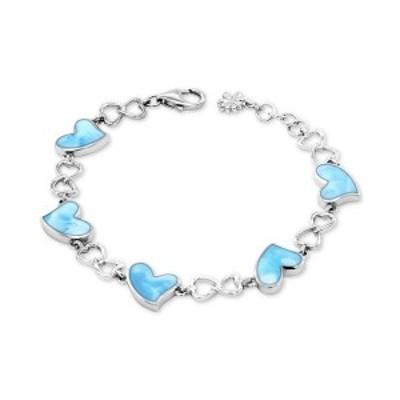 マララゴ レディース ブレスレット・バングル・アンクレット アクセサリー Larimar Heart Link Bracelet in Sterling Silver Sterling Si
