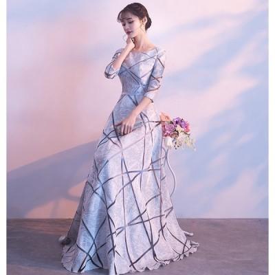 ロングドレス 豪華なドレス カラードレス パーティードレス ウエディングドレス ドレス  二次会ドレス お呼ばれ ピアノ 発表会 結婚式[グレー]