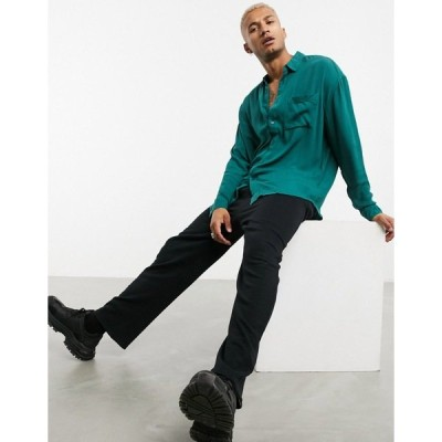 エイソス メンズ シャツ トップス ASOS DESIGN 90s oversized crinkle viscose shirt in forest green Forest green