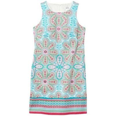 ロンドンタイムス ワンピース トップス レディース Cotton Sateen Shift Dress Turquoise/Pink