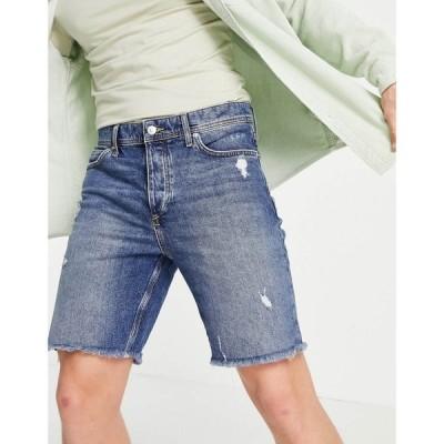 リバーアイランド River Island メンズ ショートパンツ デニム スキニー・スリム ボトムス・パンツ slim denim cut off shorts in mid blue ブルー