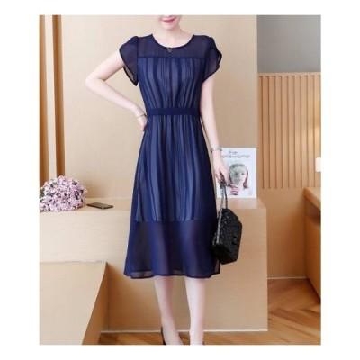 可愛い シンプル ウェスト絞り 半袖 シフォン ミモレ丈 ドレス