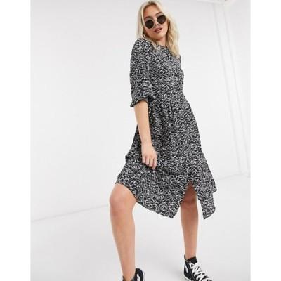 ジェイディーワイ レディース ワンピース トップス JDY abstract print midi dress with split in black