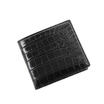 (sankyoshokai/サンキョウショウカイ)クロコダイルレザー折り財布マット加工両カード/ユニセックス ブラック