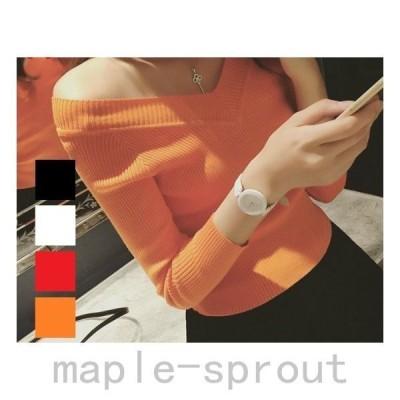 レディース トップス ブイネック 長袖 ニット 黒 白 赤 オレンジ ファッション カットソー
