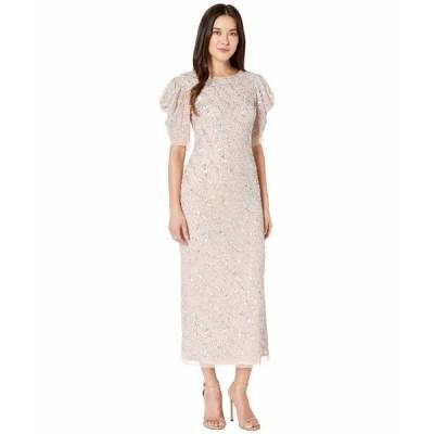 アドリアナ パペル ワンピース トップス レディース Beaded Ankle Length Cocktail Dress with Draped Sleeves Almond Cream