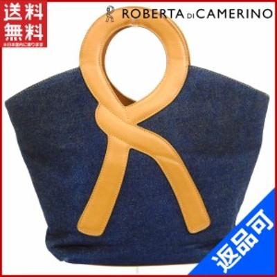 ロベルタ・ディ・カメリーノ バッグ ROBERTA DI CAMERINO ハンドバッグ ライトブラウン×ブルー 即納 【中古】 X16184