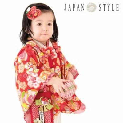 レンタル JAPAN STYLE 被布セット 1歳 女の子 ひな祭り 雛祭り 衣装「赤地に鶴・菊・梅」女の子 赤ちゃん ベビー 一歳 着物 衣装