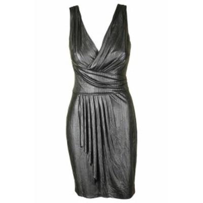 American  ファッション ドレス American Living Silver Metallic Mesh Pleated Dress with Sheath