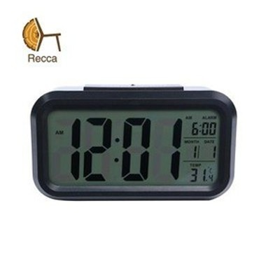 recca デジタル 目覚まし時計 大音量 ライト自動点灯/温度計/湿度計付き ブラック