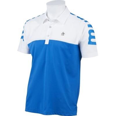 (Munsingwear/マンシングウェア)【ENVOY/エンボイ】【サンスクリーン】【吸汗速乾】ビッグロゴ切替半袖シャツ/メンズ ブルー系
