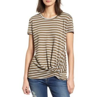 ステートサイド レディース Tシャツ トップス Fern Stripe Twist Front Tee SILVER