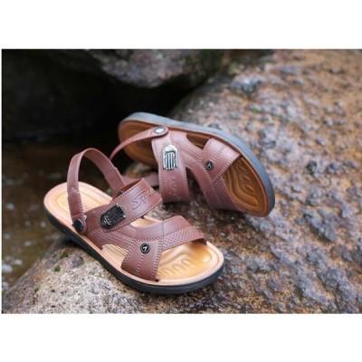 スリッパメンズサンダルPU革カジュアルシューズ靴メンズシューズ春夏便利父の日30代40代50代