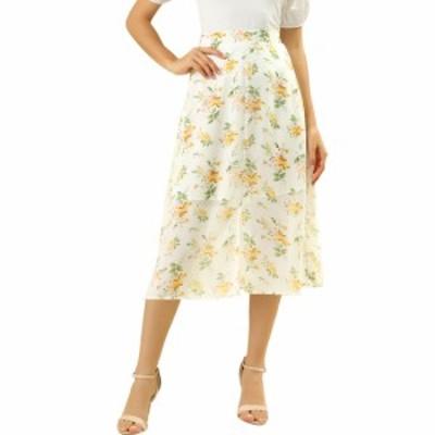Allegra K ミディスカート スプリットフロント Aライン 夏 カジュアル 流れ 花柄 レディース ホワイト XS