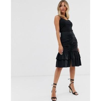 スカイラーローズ Skylar Rose レディース ひざ丈スカート スカート ruched front midi skirt ブラック