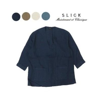 スリック SLICK リネン ボタンレス シャツ カーディガン SLK5365515【2020年春夏新作】