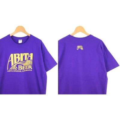 古着 大きいサイズ アビータ・ビール ABITA BEER クルーネック 半袖プリントTシャツ アドバタイジング メンズ US-XLサイズ パープル 系 hs-8606