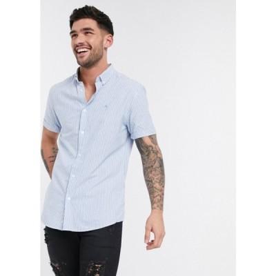 リバーアイランド River Island メンズ 半袖シャツ ワイシャツ トップス Maison Riviera short sleeve oxford shirt with stripe in blue ブルー