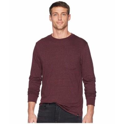 スレッズ・フォー・ソート シャツ トップス メンズ Baseline Tri-Blend Long Sleeve Pocket Tee Maroon Rust