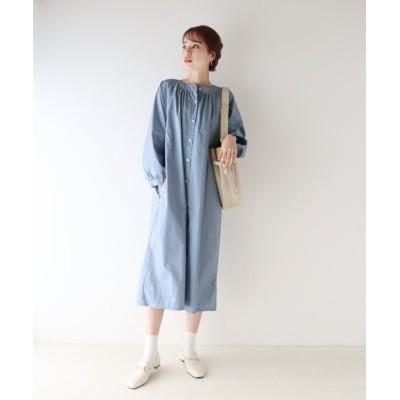 【ブルーイースト】 バンドカラーシャツワンピース レディース グレー M(01) BLUEEAST