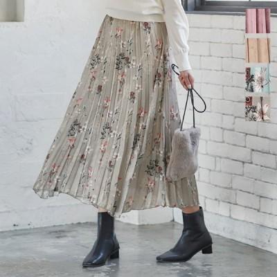セール☆スカート プリーツスカート レディース ボトムス 秋冬 イレギュラーヘム サテン ウエストゴム 花柄 M3105